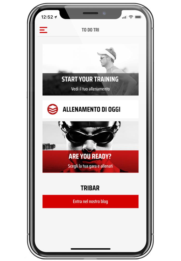 Una schermata dell'app ToDoTri per allenamenti triathlon