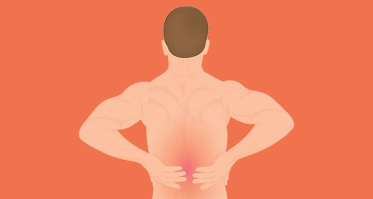 Disegno di un atleta uomo che si tocca la schiena dolorante