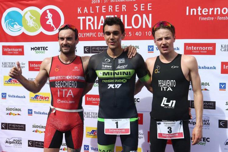 I triatleti vincitori dell'edizione 2019 del Triathlon di Caldaro