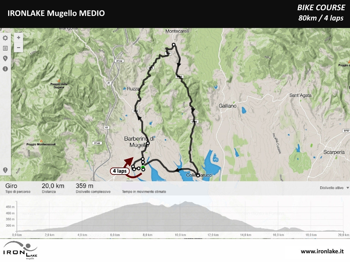 Il percorso della frazione di ciclismo dell'Ironlake Mugello 2020