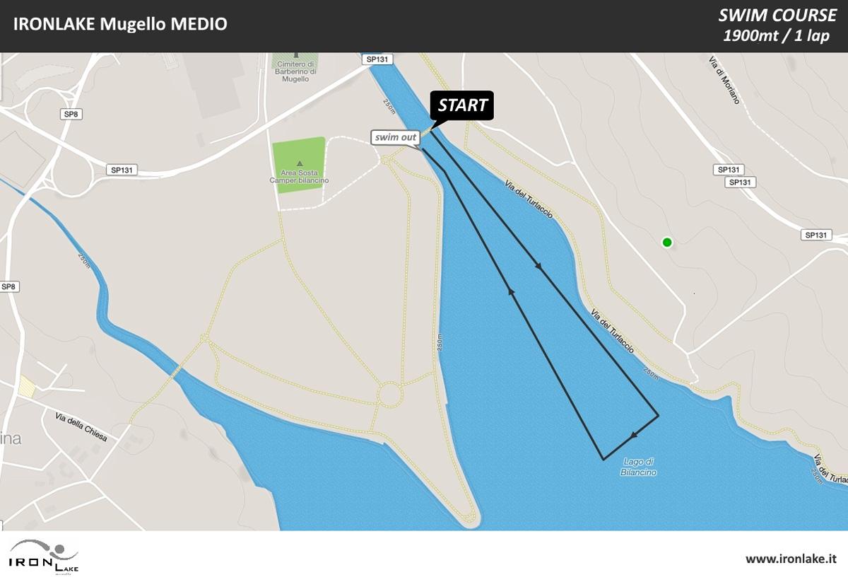 Il percorso della frazione di nuoto dell'Ironlake Mugello 2020