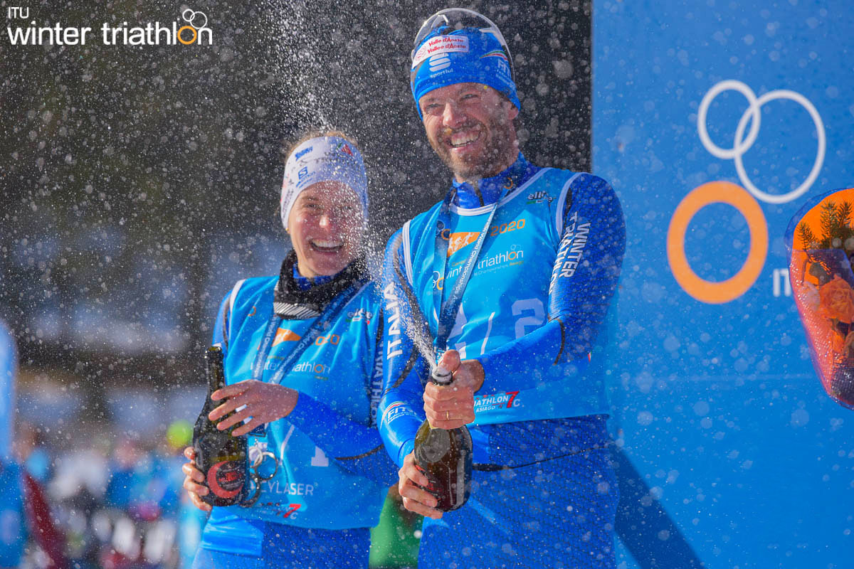 La nazionale italiana festeggia argento ai mondiali di winter triathlon