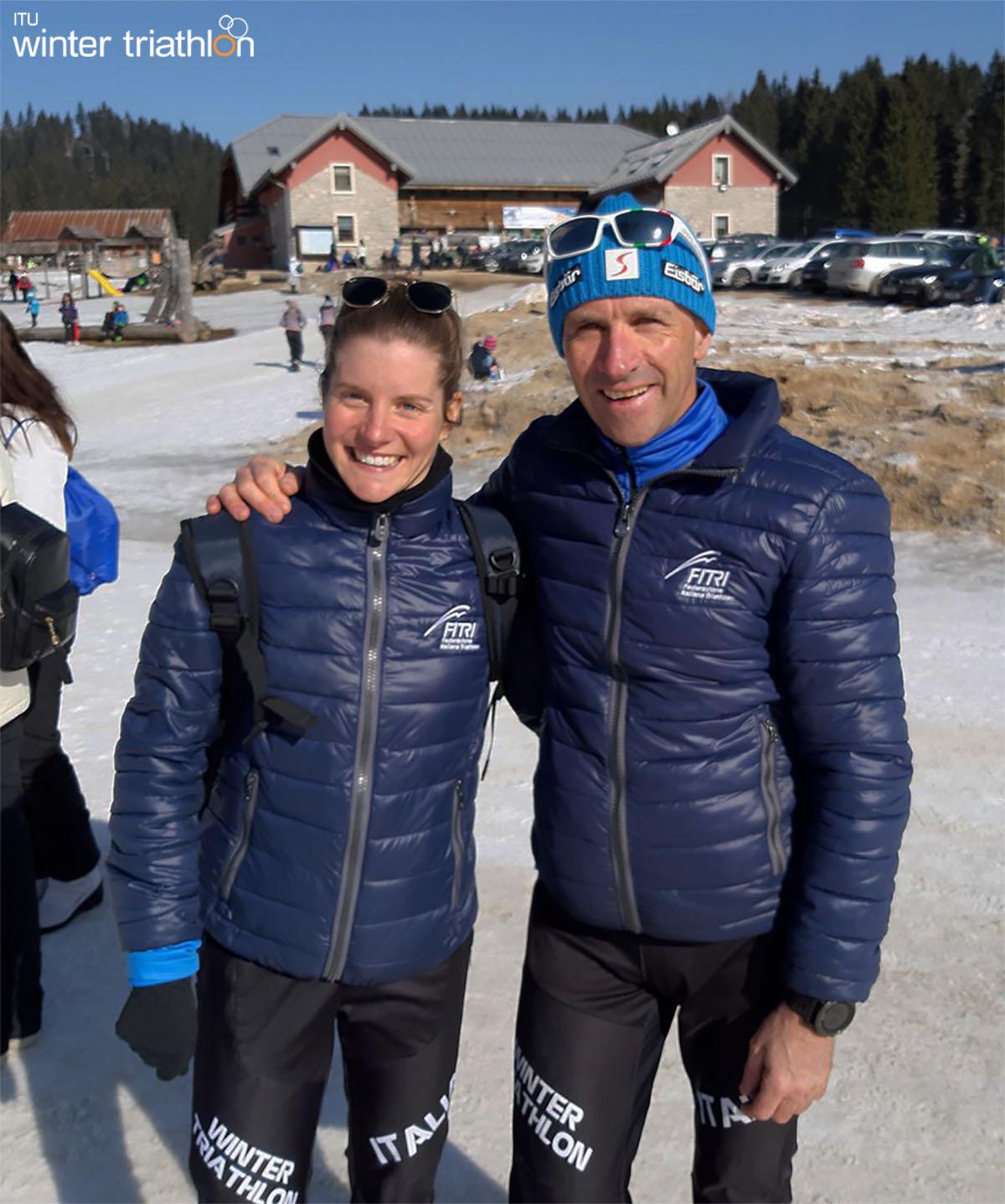 Il CT della nazionale Marco Bethaz con Sandra Mairhofer