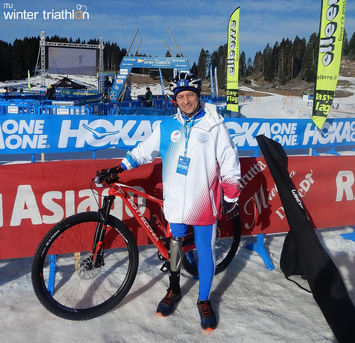 Un paratriatleta al mondiale di Winter Triathlon 2020
