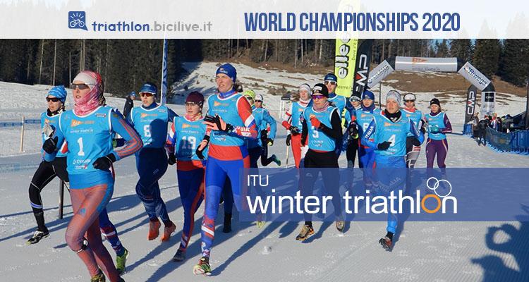 Winter triathlon World Championship di Asiago 2020: sulla neve corsa, bici e sci da fondo