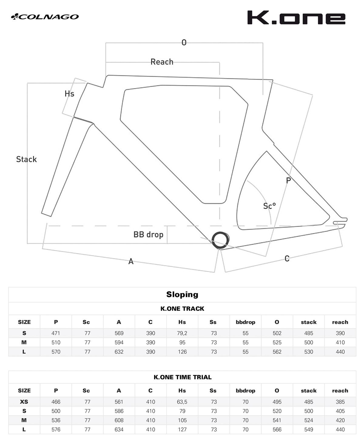La tabella con le misure e le geometrie del telaio bici aerodinamico da triathlon e crono Colnago K.one