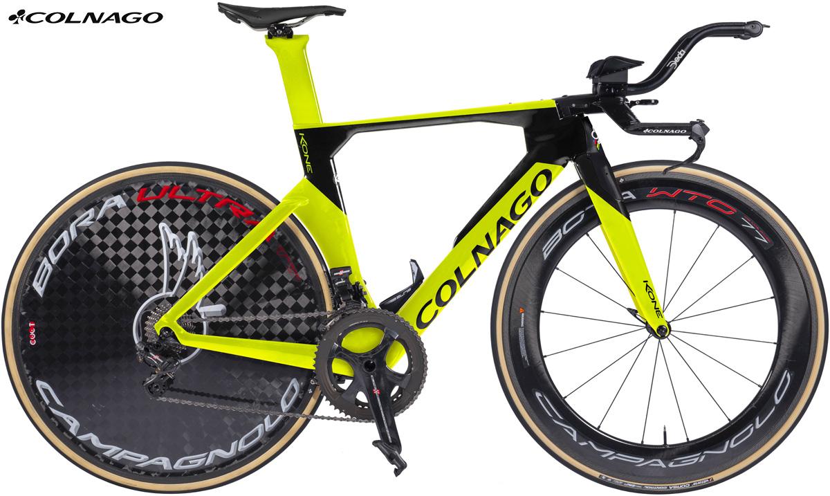 Un allestimento del telaio bici aerodinamico da triathlon e crono Colnago K.one
