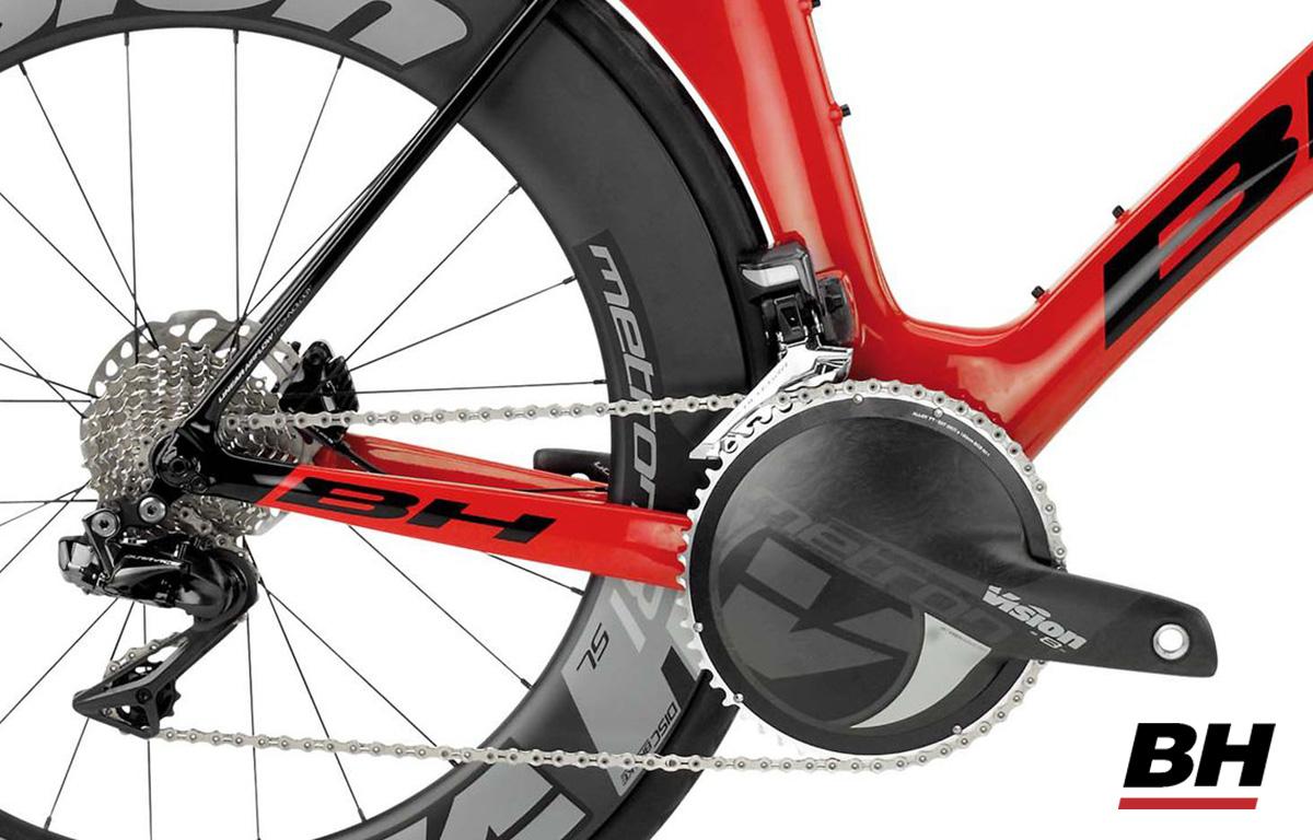 Corona, pedale e trasmissione della bicicletta da crono e triathlon BH Aerolight Disc 6.0 modello 2020