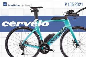 Una bici da triathlon in carbonio Cervèlo P 105 2021 azzurra