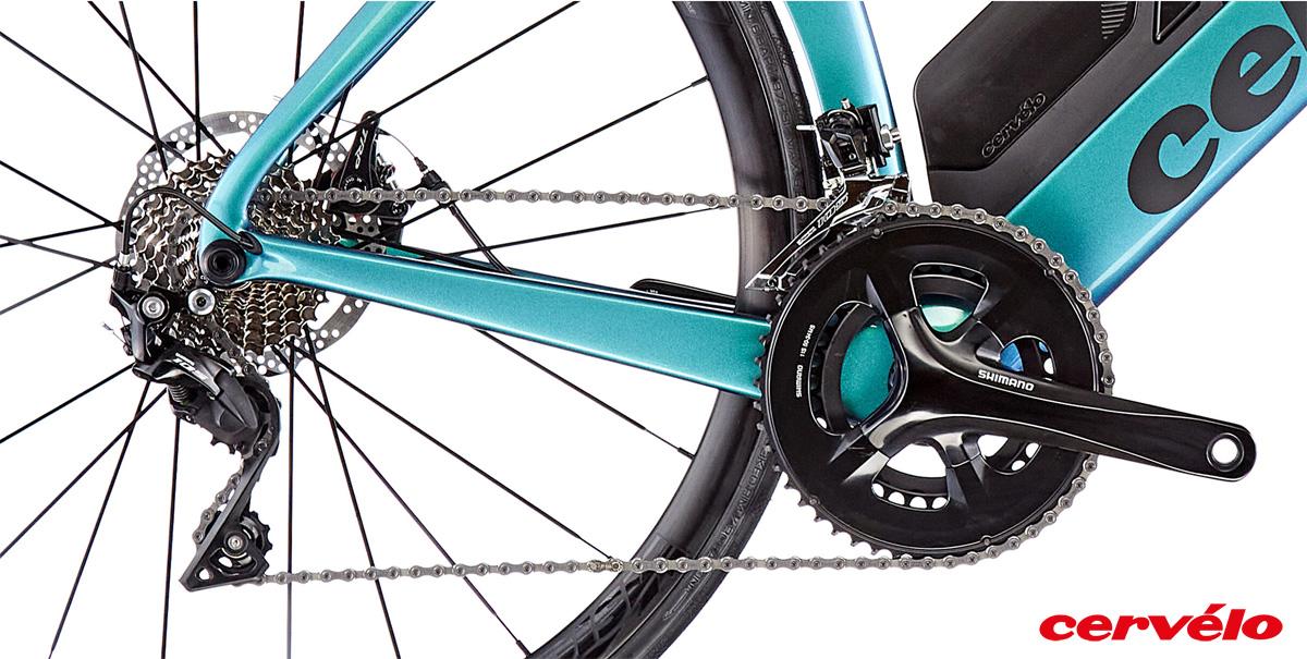 Il gruppo trasmissione equipaggiato sulla bici da crono Cervélo P 105 gamma 2021