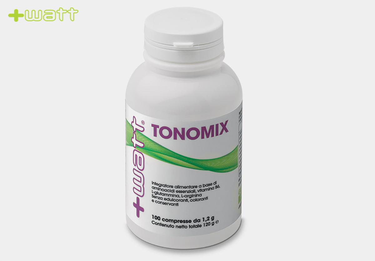 La confezione dell'integratore +Watt Tonomix