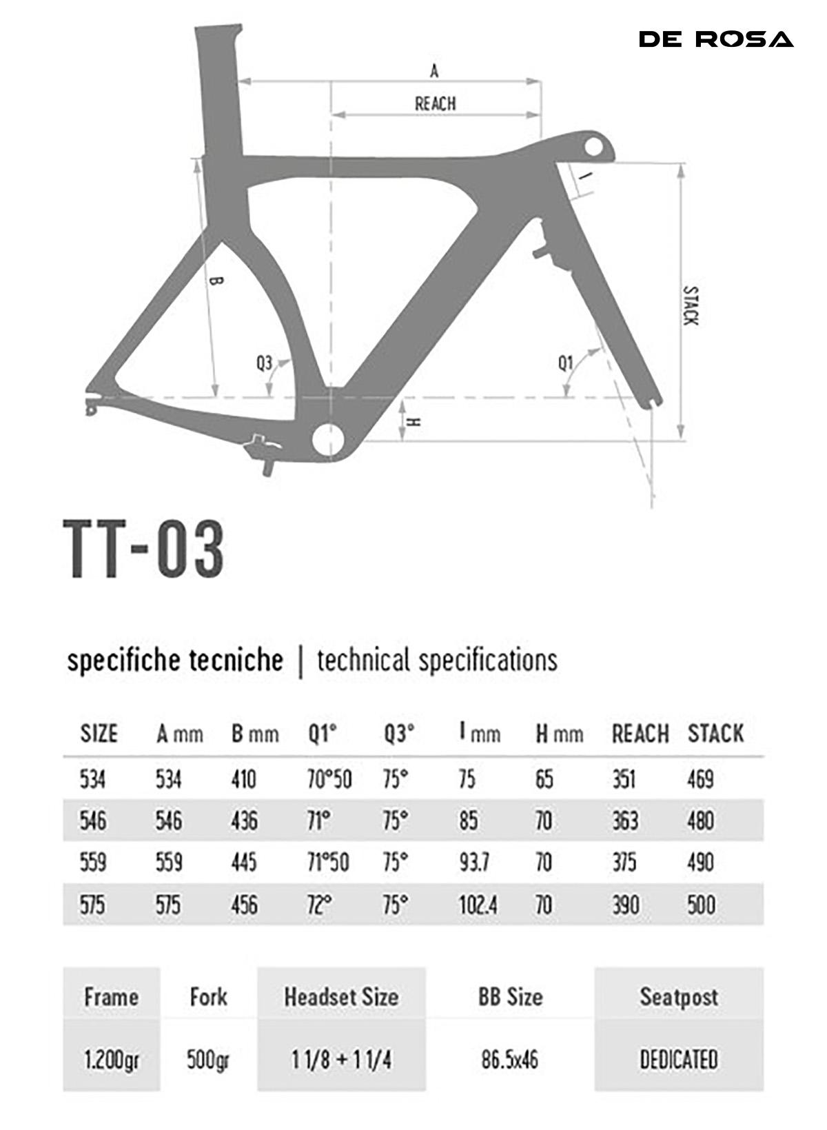 Tabella e disegno con le geometrie della bicicletta De Rosa TT-03