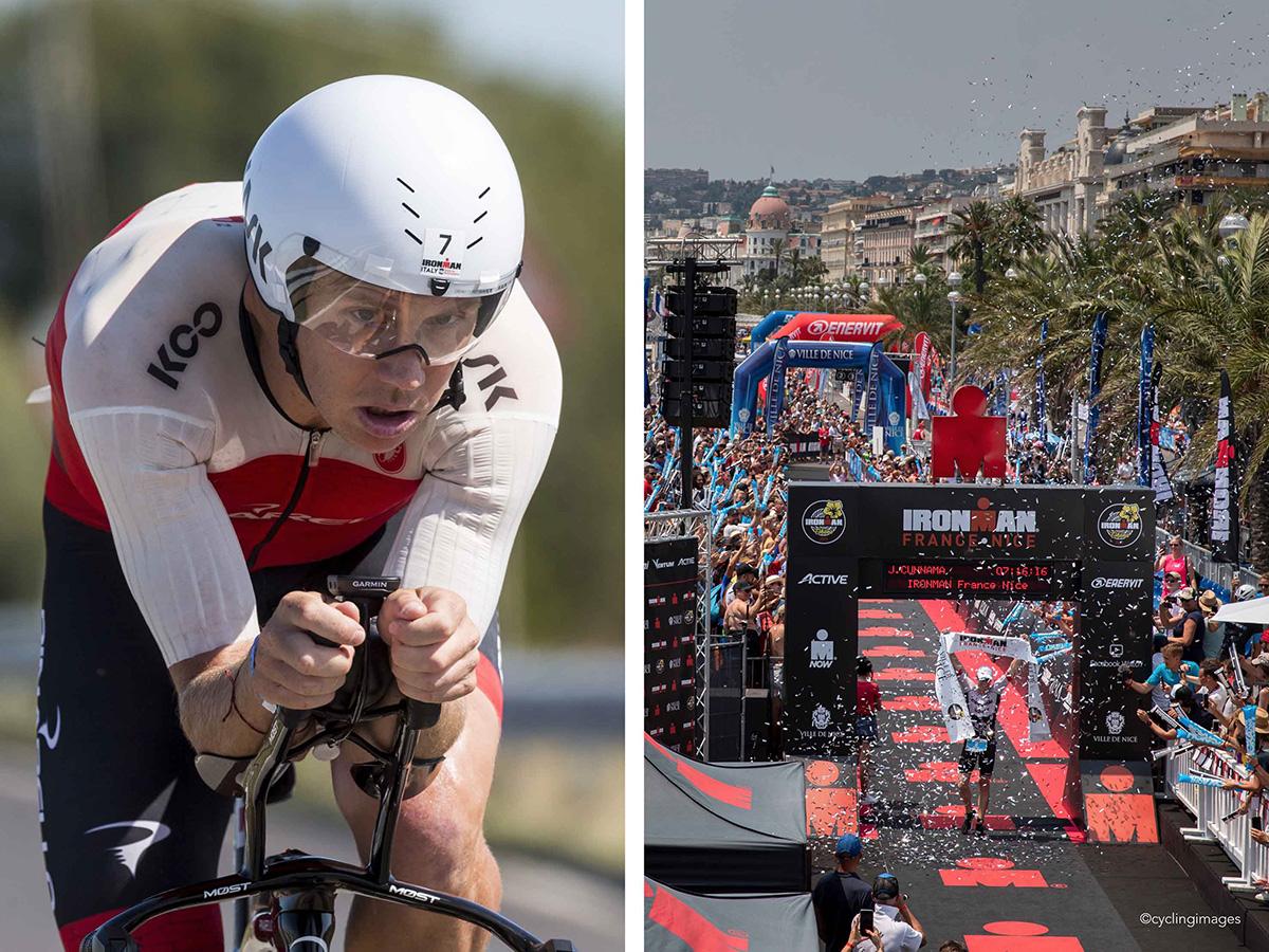 Uno scatto di un triatleta che gareggia all'Ironman indossando un casco Kask