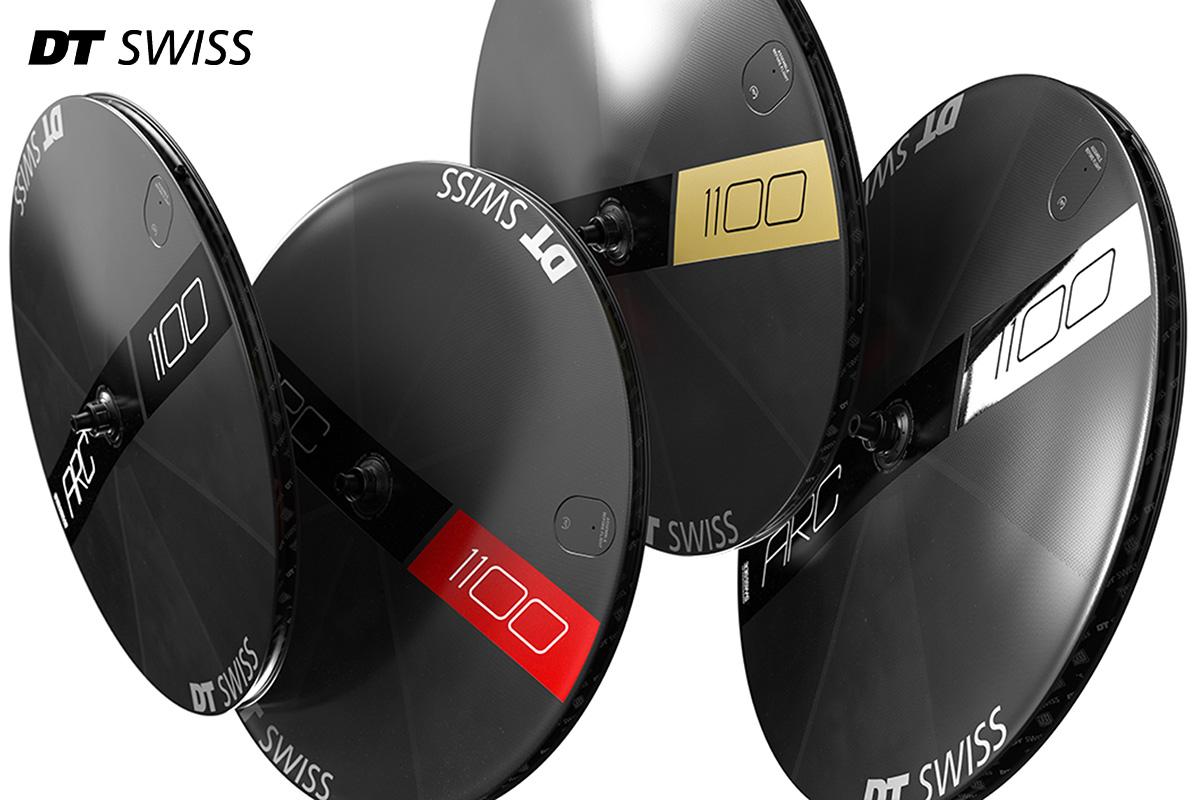 Quattro ruote lenticolari DT Swiss ARC 1100 Dicut Disc con le diverse aerografie cromate